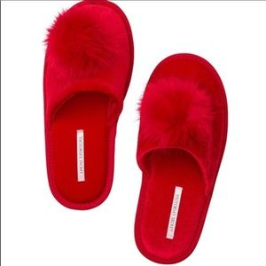 New red puff ball Victoria's Secret slippers